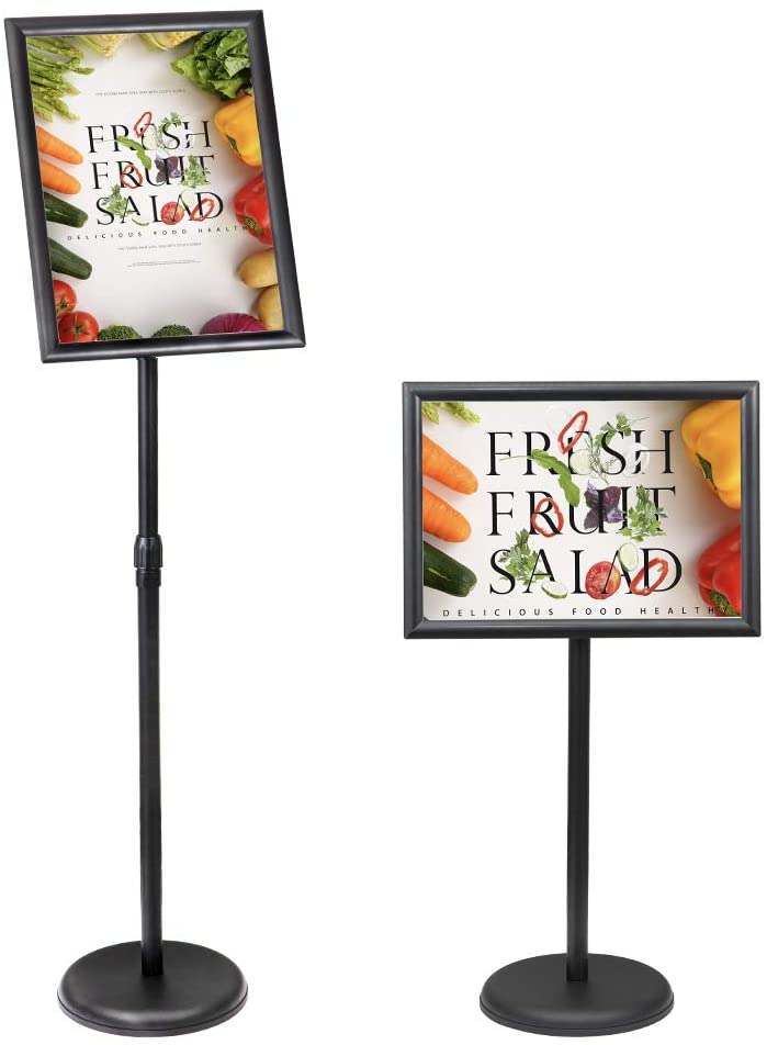 SENZHIYI Adjustable Poster Stand Holder 8.5 X 11 Inch, 360 Degree Rotation, Heavy Duty Snap Open Aluminum Pedestal Floor Standing Sign Holder Vertical and Horizontal View Sign Displayed