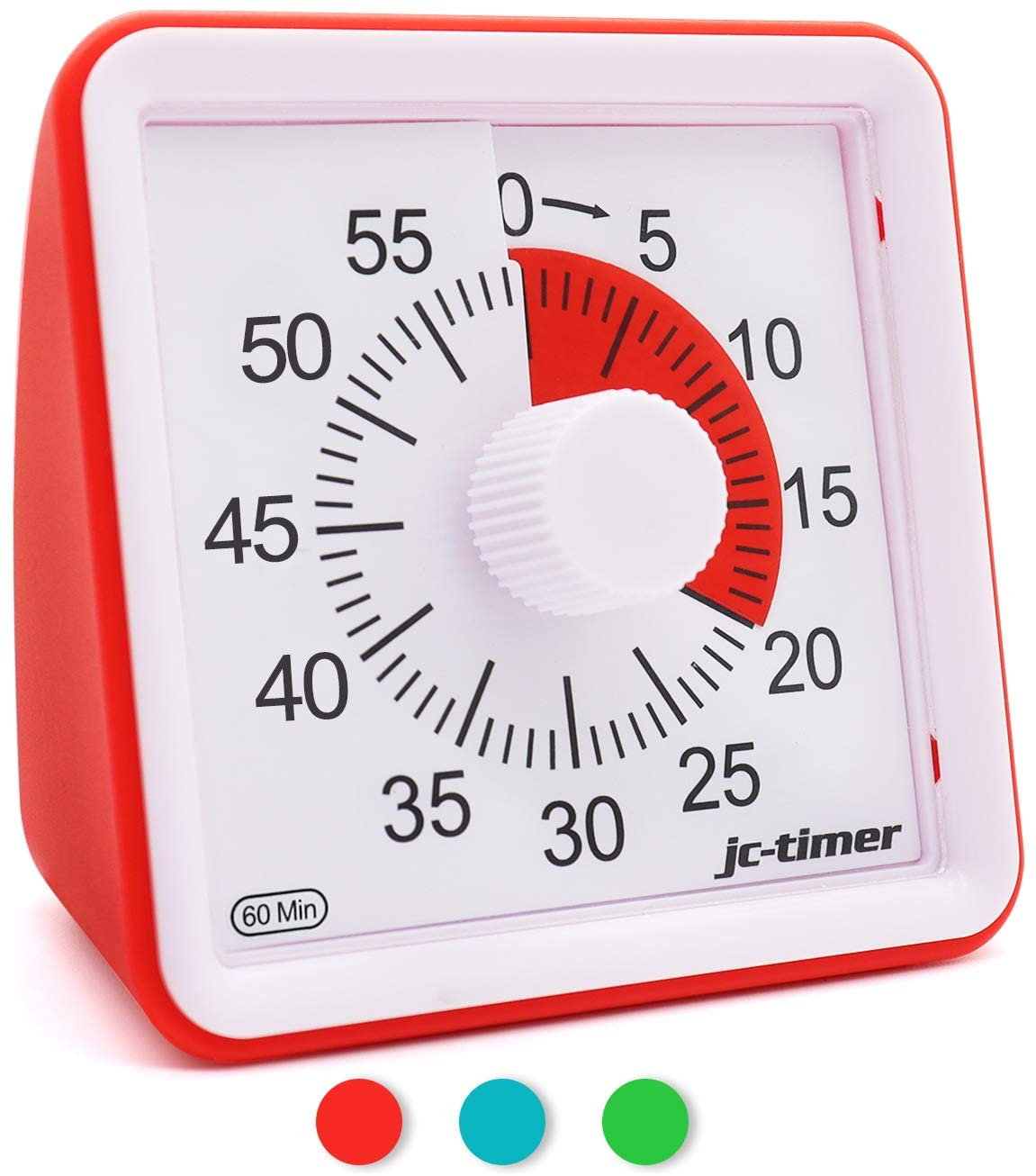 Koopro 60-Minute Visual Timer Mute Countdown Alarm Clock for Housework Homework Silent Time Management Tool for Kids and Adults Accurate Time Counter for Cooking Reading Cooking Meeting (Red)