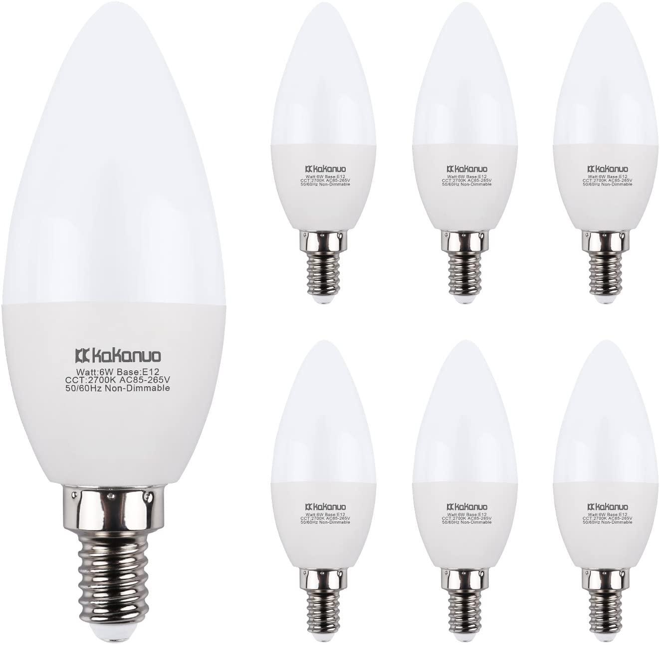 LED Candelabra Bulbs Kakanuo 6W Replace 60W E12 Base Chandelier Bulbs, Warm White 2700K B11 Led Candle Light Bulbs, Pack of 6