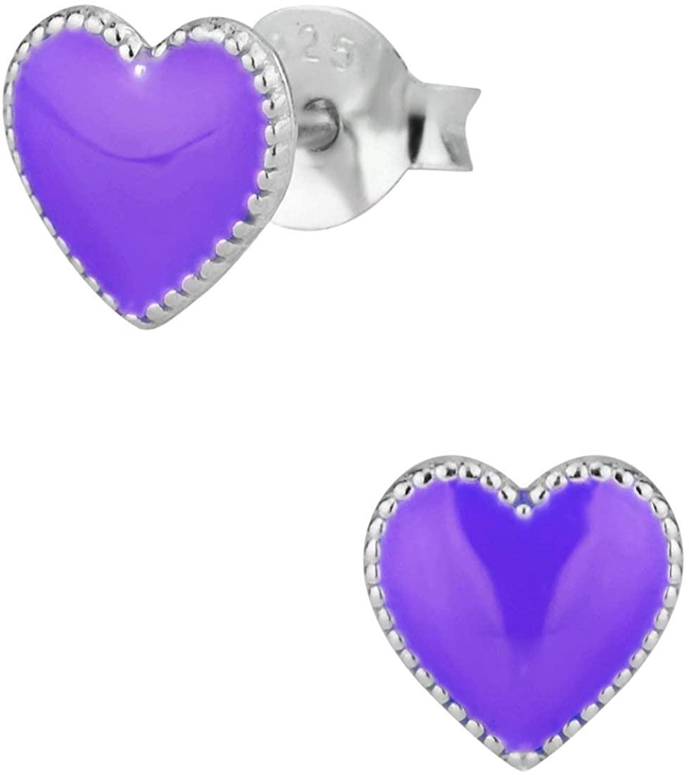 Hypoallergenic Sterling Silver Heart Stud Earrings for Kids, Nickel Free