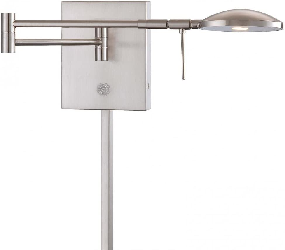 George Kovacs P4338-084, Georges Reading Room, 1 Light LED Swing Arm Wall Lamp, Brushed Nickel