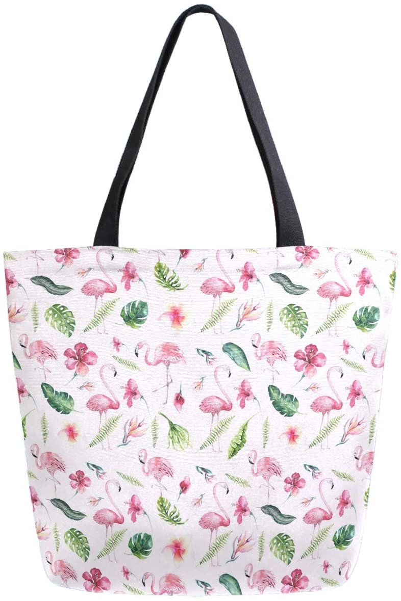ZzWwR Tropical Leaves Flowers Flamingo Large Canvas Shoulder Tote Top Handle Bag for Gym Beach Travel Shopping