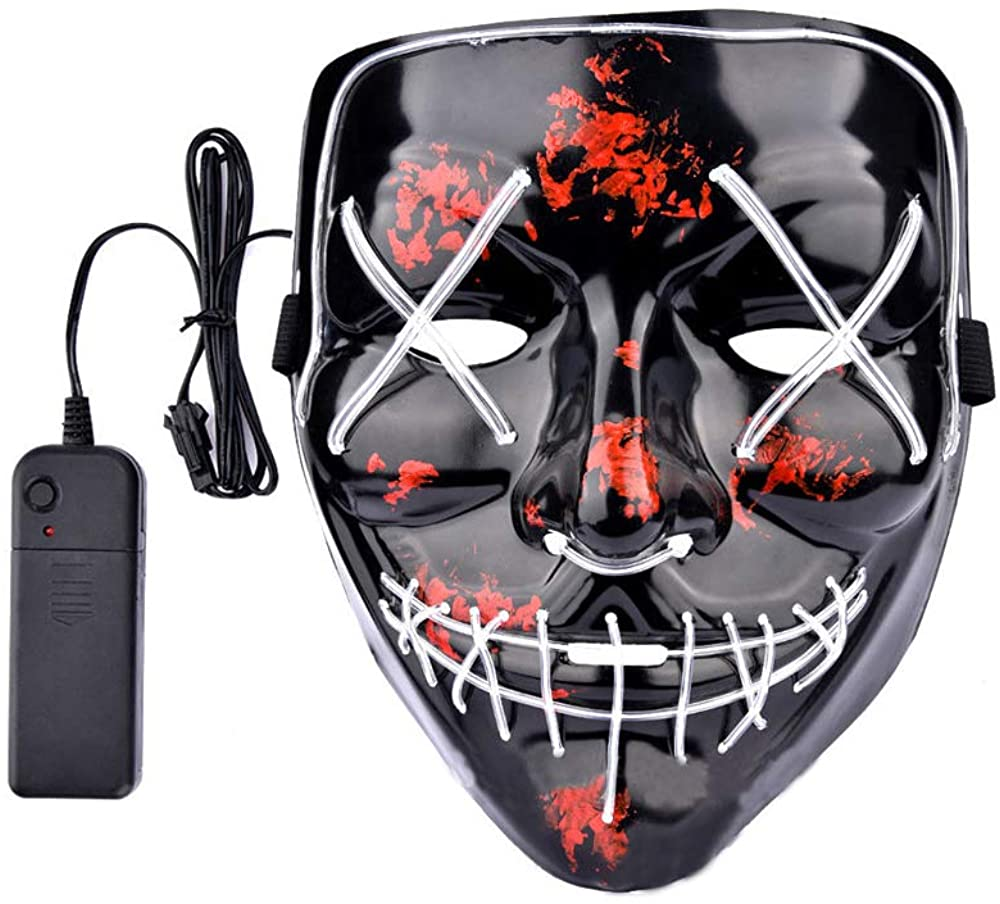 Halloween Costume Mask, LED Cosplay Scary Mask for Adult Kids Children Party Favor(White)