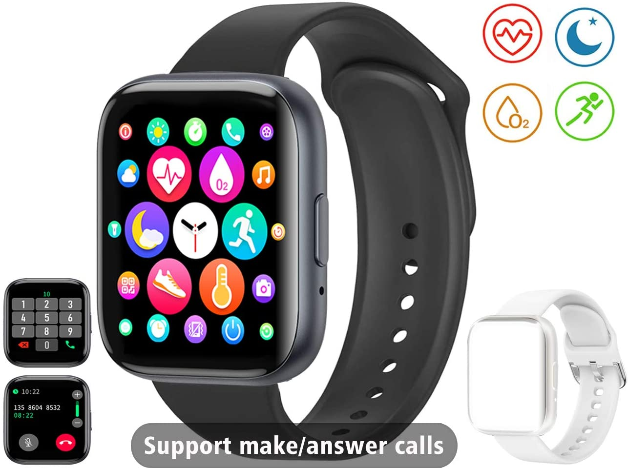 Smart Watch Receive/Make Call,Fitness Tracker with 1.54 Full Touch Life Water-Resistant SpO2 Heart Rate Sleep Monitor,Step/Calorie,Bluetooth Call Smart Watch for Women Men Android iOS Phone (Black)