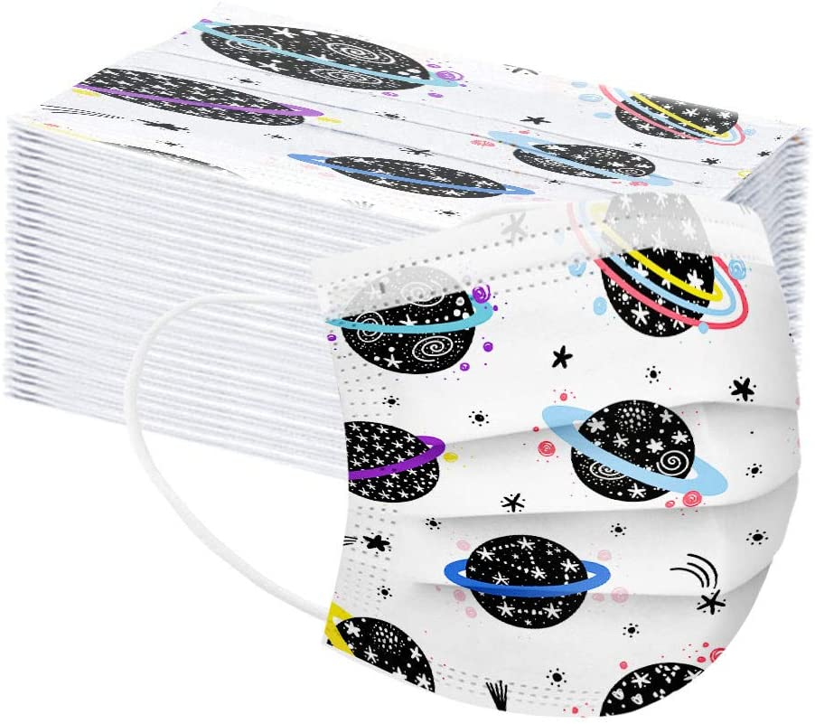 50Pcs Disposable Children Unisex Multicolor Cute Cartoon Planet Printed Dust Cover Non-woven 3Ply Kids Outdoor Safety For Boys And Girls