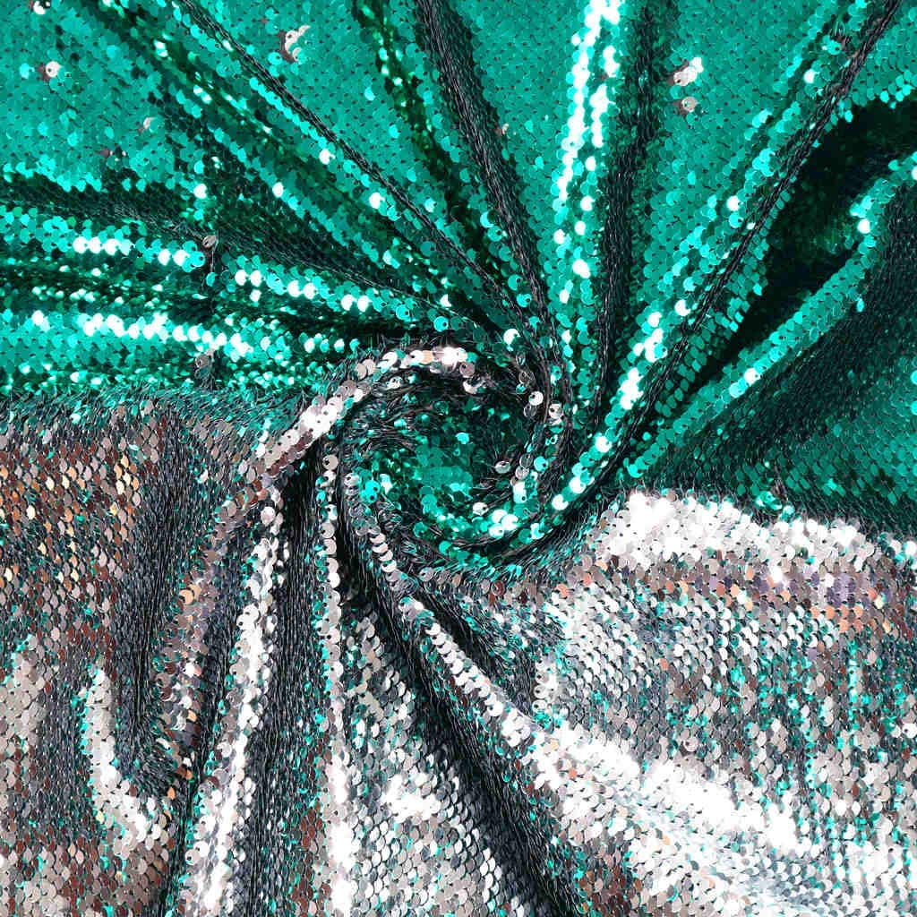 Sequin Fabric for Sewing Reversible Sequin Fabric by The Yard Fabric Shower Curtain Sequined Fabric Flip Up Fabric Embroidery Fabric Color Changing Fabric for Wedding Dress (1 Yard, Silver to Green)