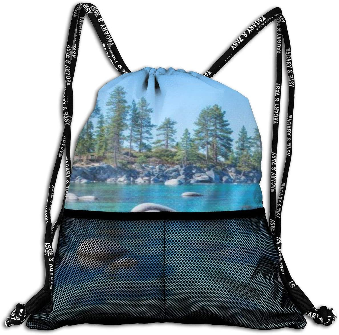 Drawstring Cinch Bags Beautiful Blue Clear Water Lake Tahoe Unisex Storage Pouch Bag Washable String Backpack Dust-Proof Breathable Travel Sport Gym Bags with Mesh Pockets