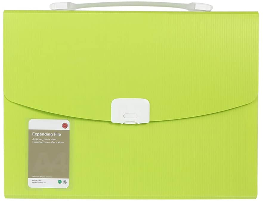 13-Pocket Expanding File Folder, Letter Size Accordion File Organizer, Document Folder with Handle for School, Office, Home (Green)