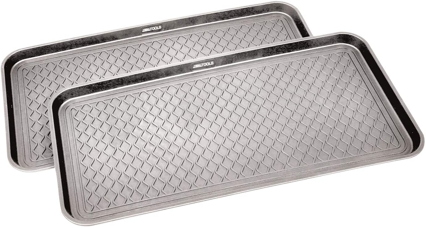 Great Working Tools Boot Trays - Set of 2 Gray All Weather Heavy Duty Shoe Trays, Pet Bowl Mats Trap Mud, Water and Food Mess to Protect Floors - Gray, 30 x 15 x 1.2
