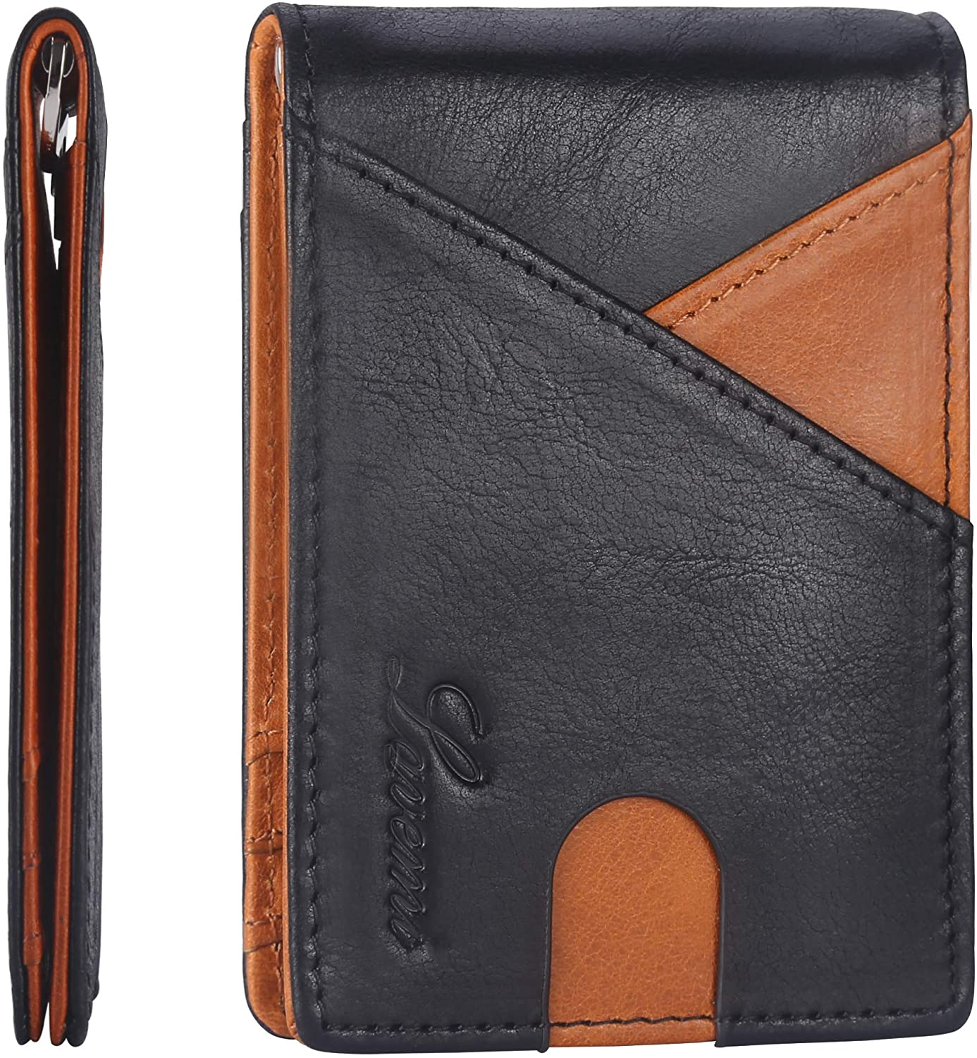 Lavemi Money Clip Wallet for Men Waxed Leather Slim Front Pocket RFID Blocking Minimalist Wallet