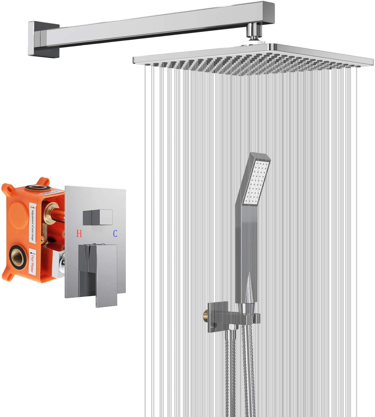 Shower System with Ceramic Spool 10 Inch,Chrome Coating Combo Set Brass Wall Mounted Rainfall Shower Head Systems with Rain Shower and Handheld Shower Faucet Rough-in Valve Body and Trim Included…