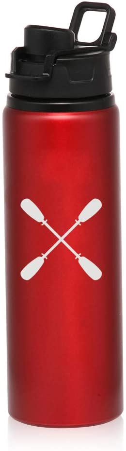 MIP Brand 25 oz Aluminum Sports Water Travel Bottle Crossed Paddles Rowing Kayak Canoe