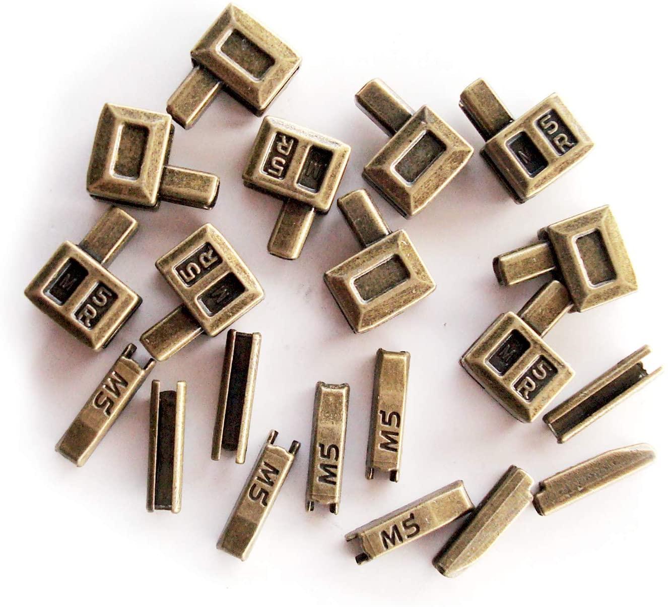 20 pcs #5 Metal Zipper Retainer Box and Zipper Insertion pin,Bottom Sliders Zipper Insertion pin Repair kit Replacement (Bronze)