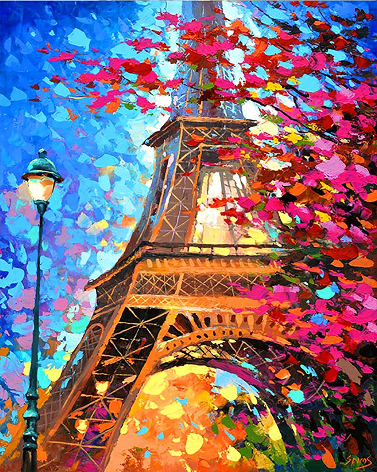Paint by Number Kits 16 x 20 inch Canvas DIY Oil Painting for Kids, Students, Adults Beginner with Brushes and Acrylic Pigment(Eiffel Tower)