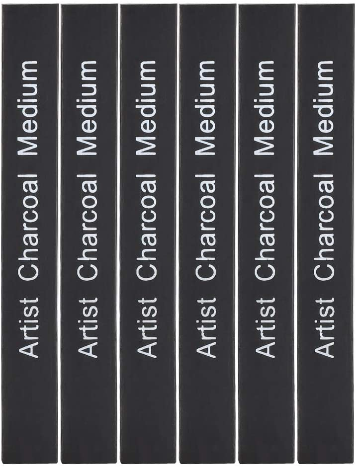 Yunnyp 6Pcs Square Drawing Pencil Compressed Charcoal Rod,Compressed Charcoal Sticks Black Square Soft/Medium/Hard Graphite Drawing Pencil Art Supply