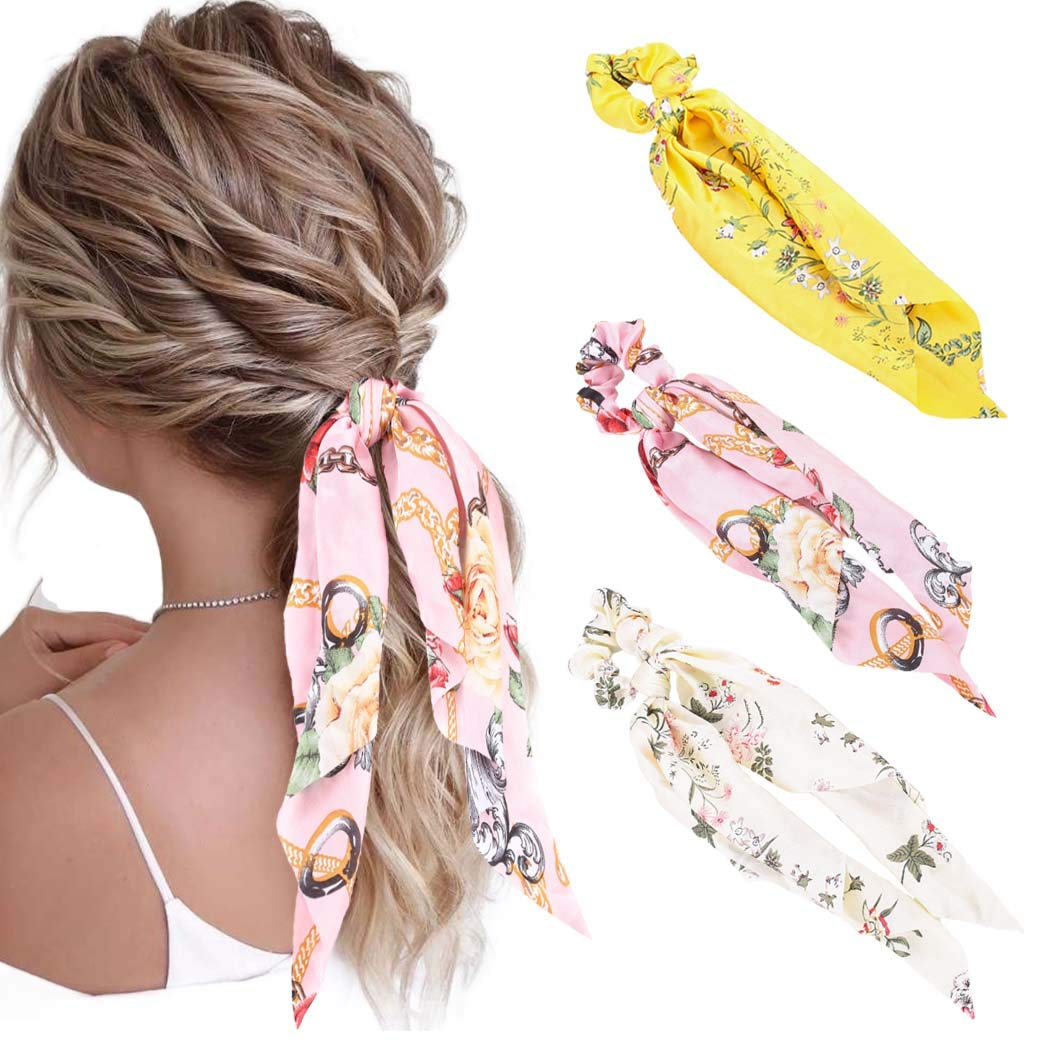 Obmyec Chiffon Hair Scrunchies Elastic Hair Ties Ponytail Holder Floral Hair Bands Hair Scarfs Hair Accessories for Women and Girls (3pcs)