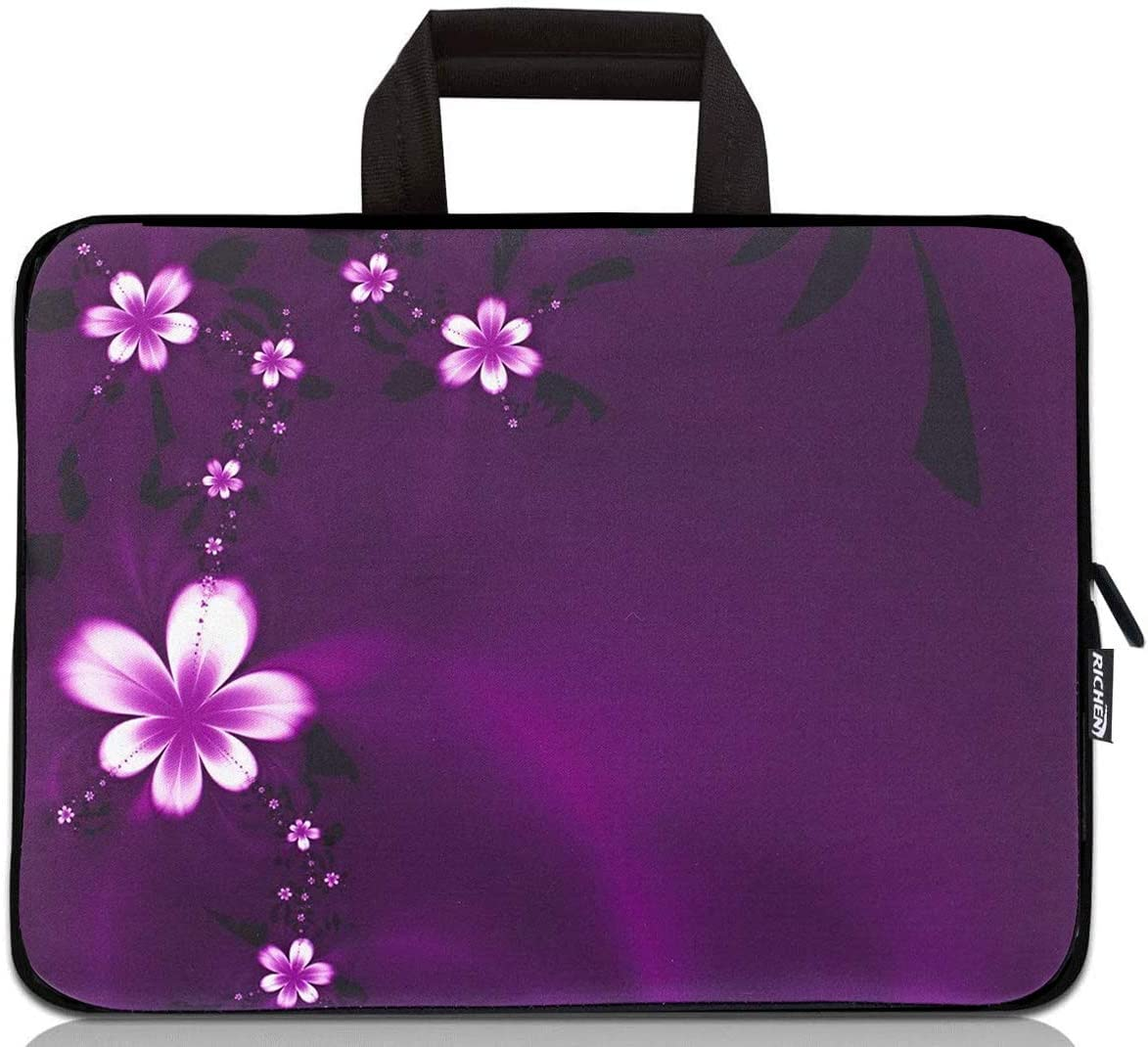 15 inch Neoprene Laptop Carrying Bag Chromebook Case Tablet Travel Cover with Handle Zipper Carrying Sleeve Case Bag Fits 14 15 15.4 inch Netbook/Laptop (14-15.4 inch, Purple Flowers)
