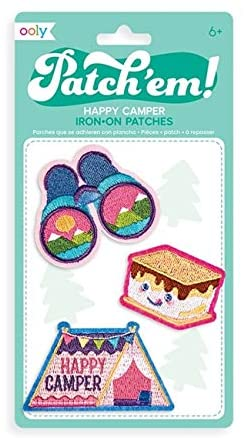 OOLY, Patch 'em Iron-on Patches: Happy Camper - Set of 3