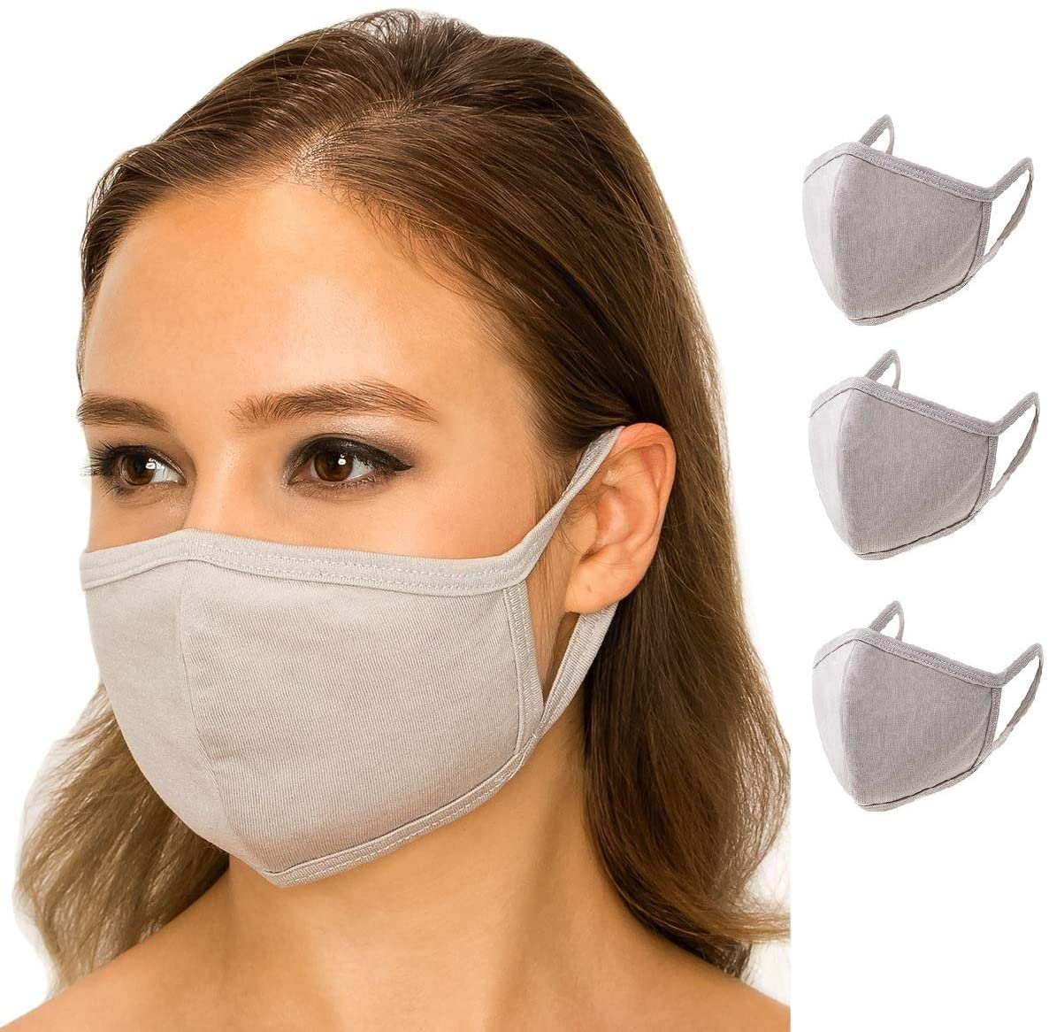 3 Pack Summer Style Easy Breathable Fabric Face Cover Protect Eco-Friendly 100% Natural Cloth Reusable Washable Bandana Balaclavas Fashion 3D Mouth Anti Dust Women Adult Unisex USA Made