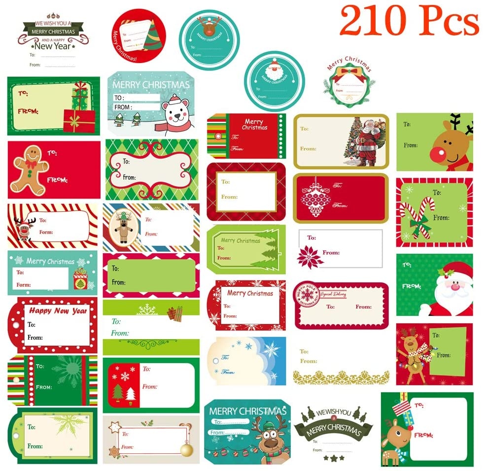 Christmas Gift Tag Stickers Peel & Stick from to Name Christmas Labels Santa Snowmen Xmas Tree Deer Festival Holiday Decorative Presents Labels for Gift Boxes, 210 Pcs