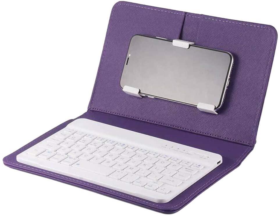 lzndeal KeyPad,Bluetooth Keyboard Leather,Mini Portable Wireless Bluetooth Keyboard with Leather Case for Smartphone