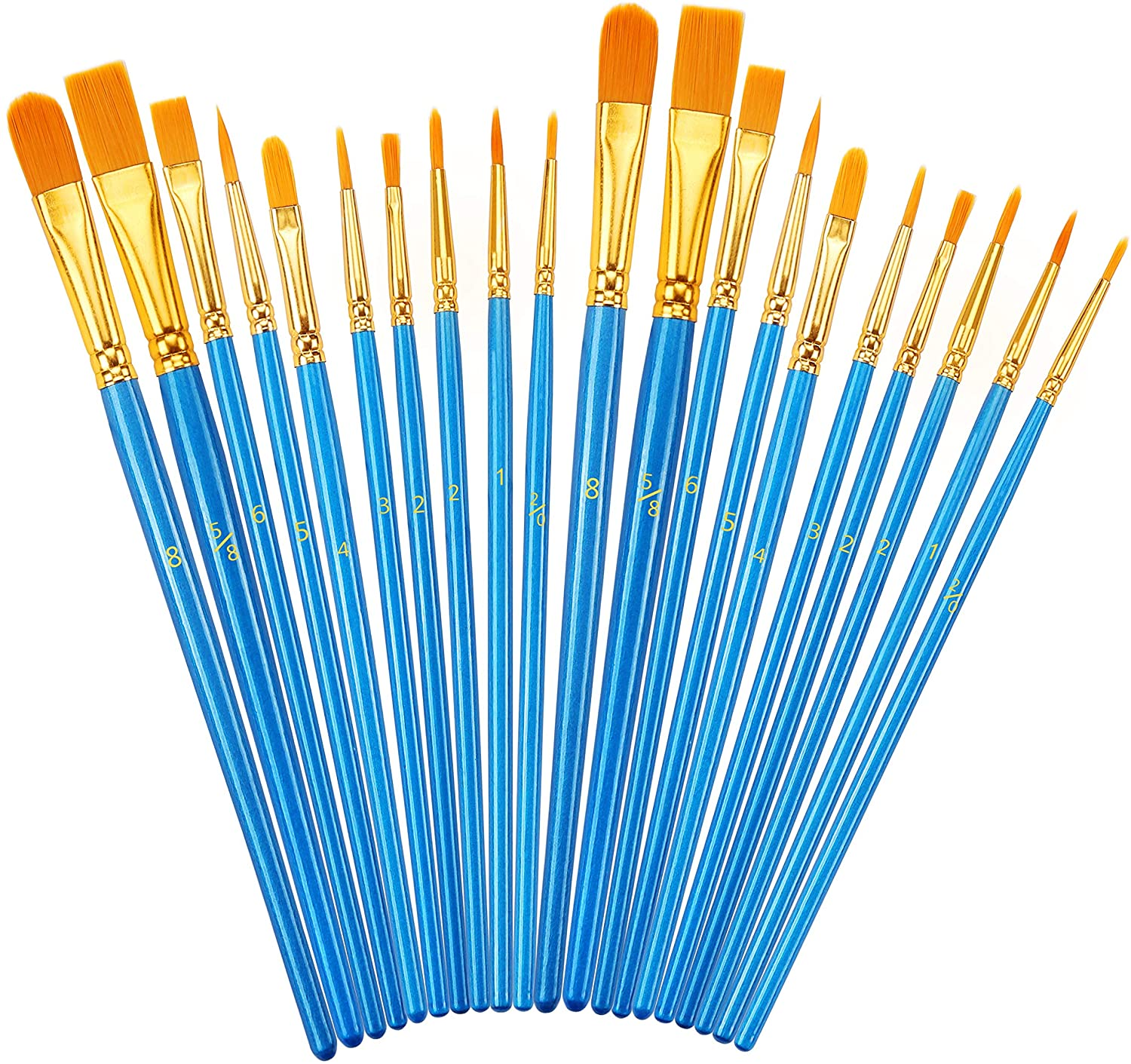 Paint Brush Set, 2Pack 20 Pcs Nylon Hair Brushes for Acrylic Round Pointed Tip Oil Watercolor Painting Artist Professional Painting Kits for Face Body Model Paint, Rock Painting,Miniature Detailing