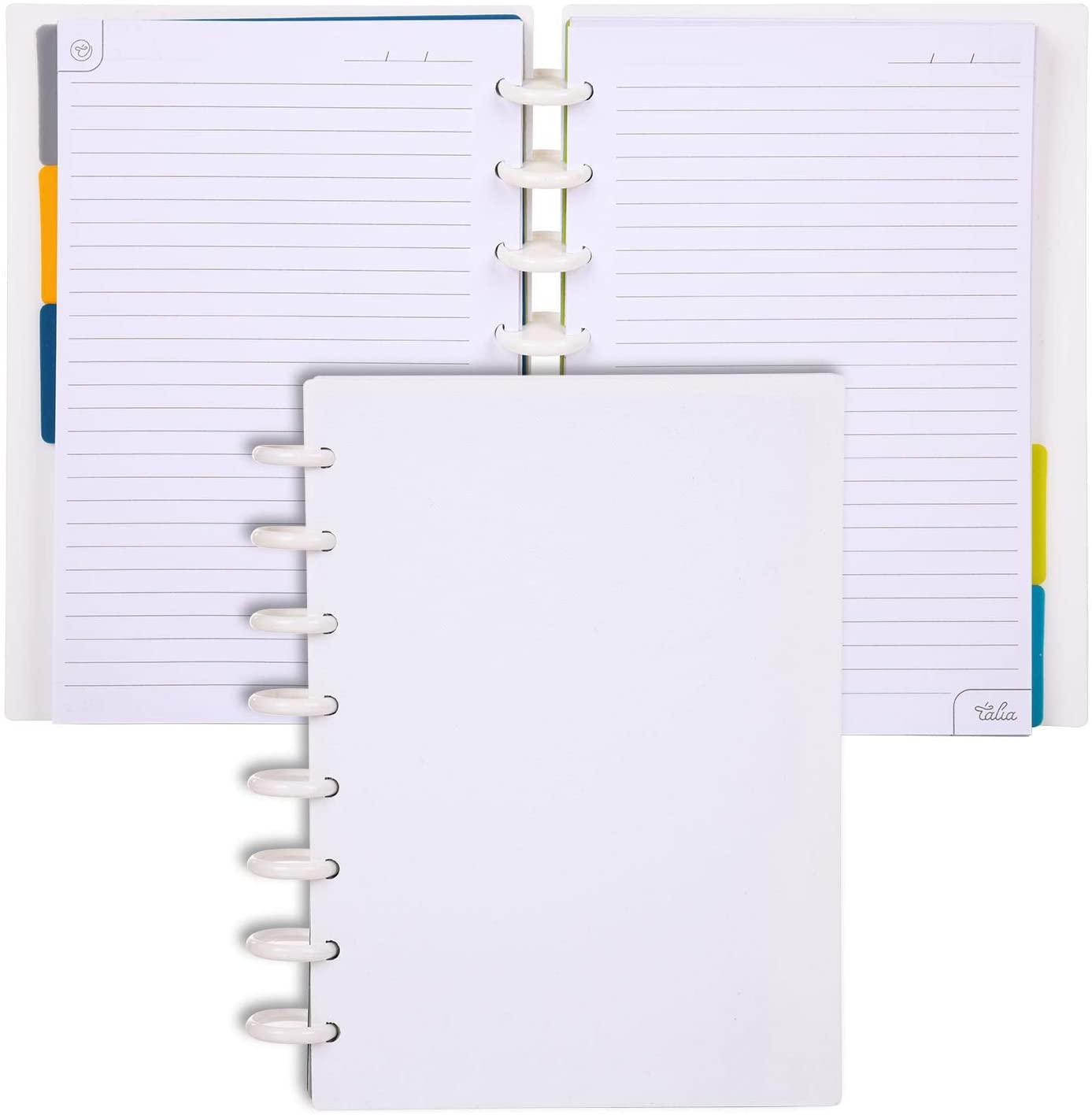 Talia Discbound Notebooks (White, Junior (5.5in x 8.5in))
