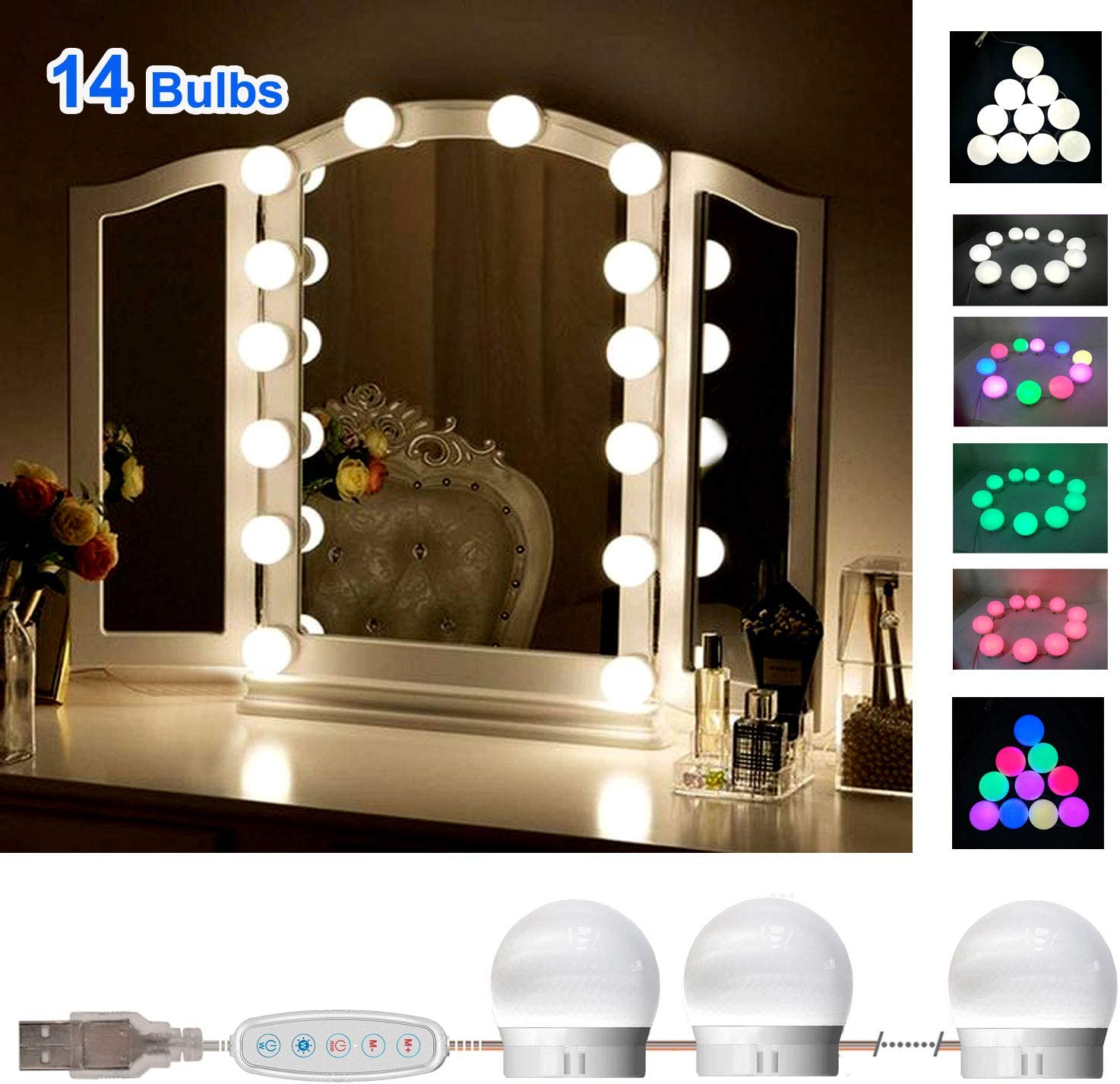 SELFILA Vanity Lights for Mirror, Adjustable RGB Color DIY Hollywood Style Led Vanity Mirror Lights kit in Dressing Room, Bathroom Wall Mirror(Mirror & USB Charger Not Include) (14 Bulbs)