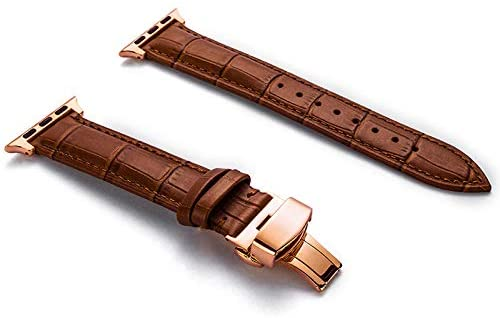 Compatible with Apple Watch Band 38mm 42mm, Genuine Leather Watch Strap for Apple Watch Band Series 4 Series 3 Series 2 Series 1, Sport/Edition Women Men (Light Brown/Rose Gold Clasp, 42mm/44mm)