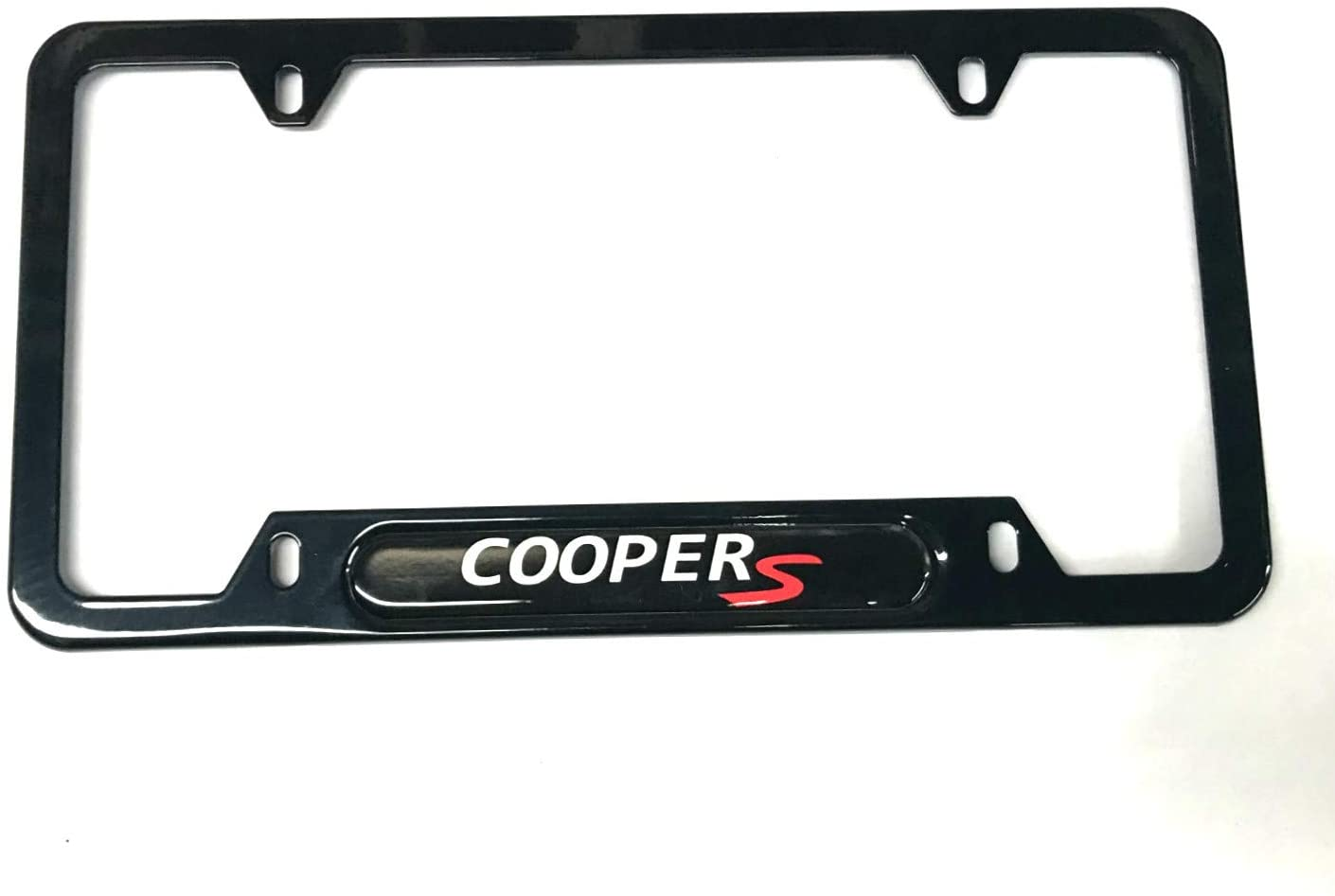 Auteal Car Stainless Steel Metal Coopers License Plate Tag Frame Cover Holders w/Caps Screws for Mini (1 Black)