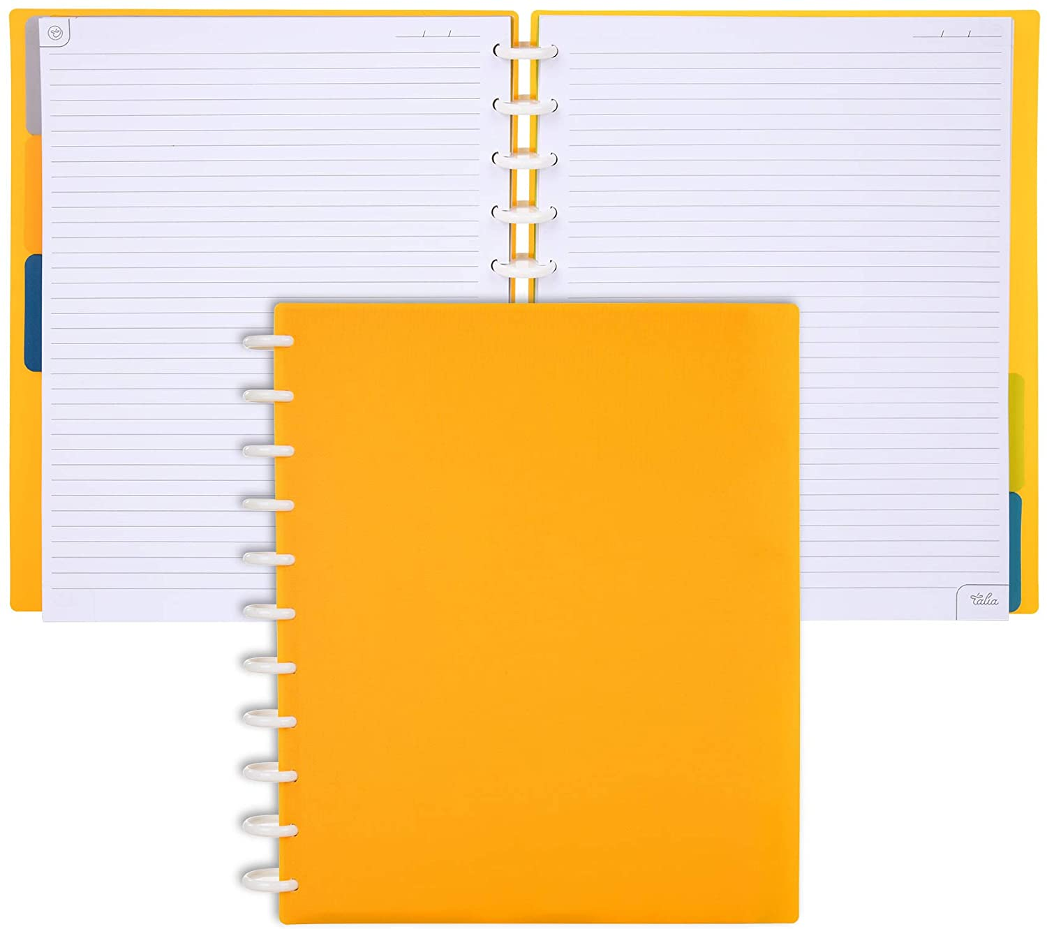Talia Discbound Notebooks, BBQ Mustard, Letter (8.5in x 11in)- Customizable, 100 Sheets of Heavyweight Paper, 12 Monthly Calendar Pages, 5 Subject, tab dividers, Fun Stickers to Personalize