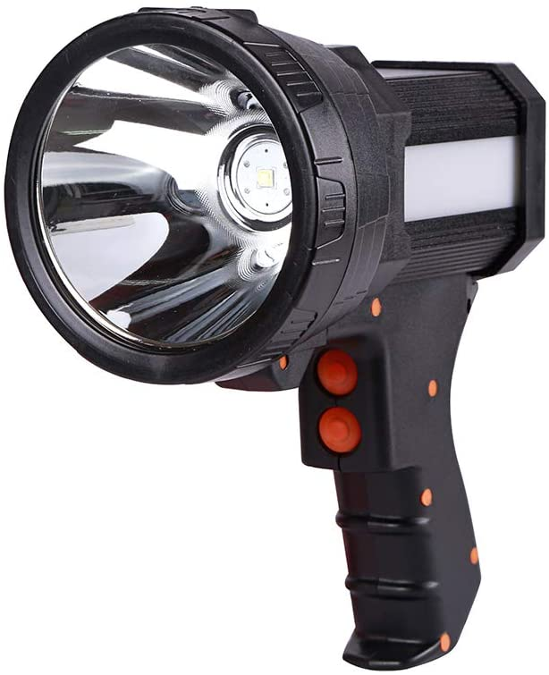 LED Rechargeable Handheld Flashlight Searchlight, Rechargeable 18650 Battery Included 3 mode Waterproof Handheld Tactical Spotlight, USB Power Bank with Side Light Portable Torch (White Light)