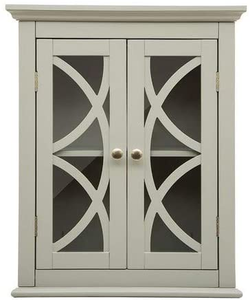 Glitzhome 24.1 Inch Wooden Wall Storage Cabinet with Double Doors Grey