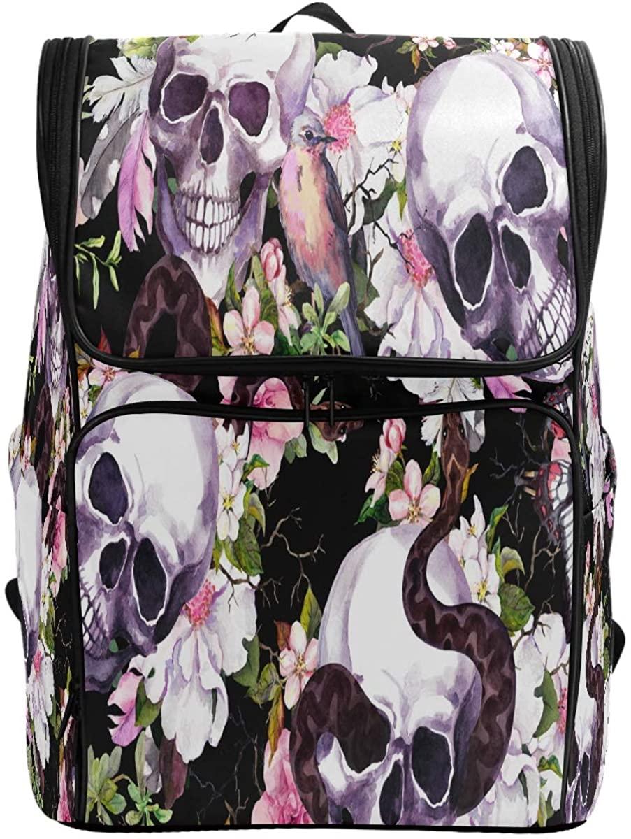 Kaariok Skulls Flowers Butterflies Birds Snake Watercolor Halloween Backpack Bookbags College Laptop Daypack Travel School Hiking Bag for Womens Mens