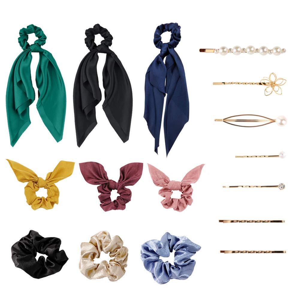 Hair Scrunchies for women,Including 3 Pcs Long Silk Satin Hair Scarf & 3 Pcs Bunny Ear Scrunchies & 3 Pcs Elastic Hair Bands Scrunchy and 7Pcs Pearl Hair Clips,(16Pcs/9Colors)