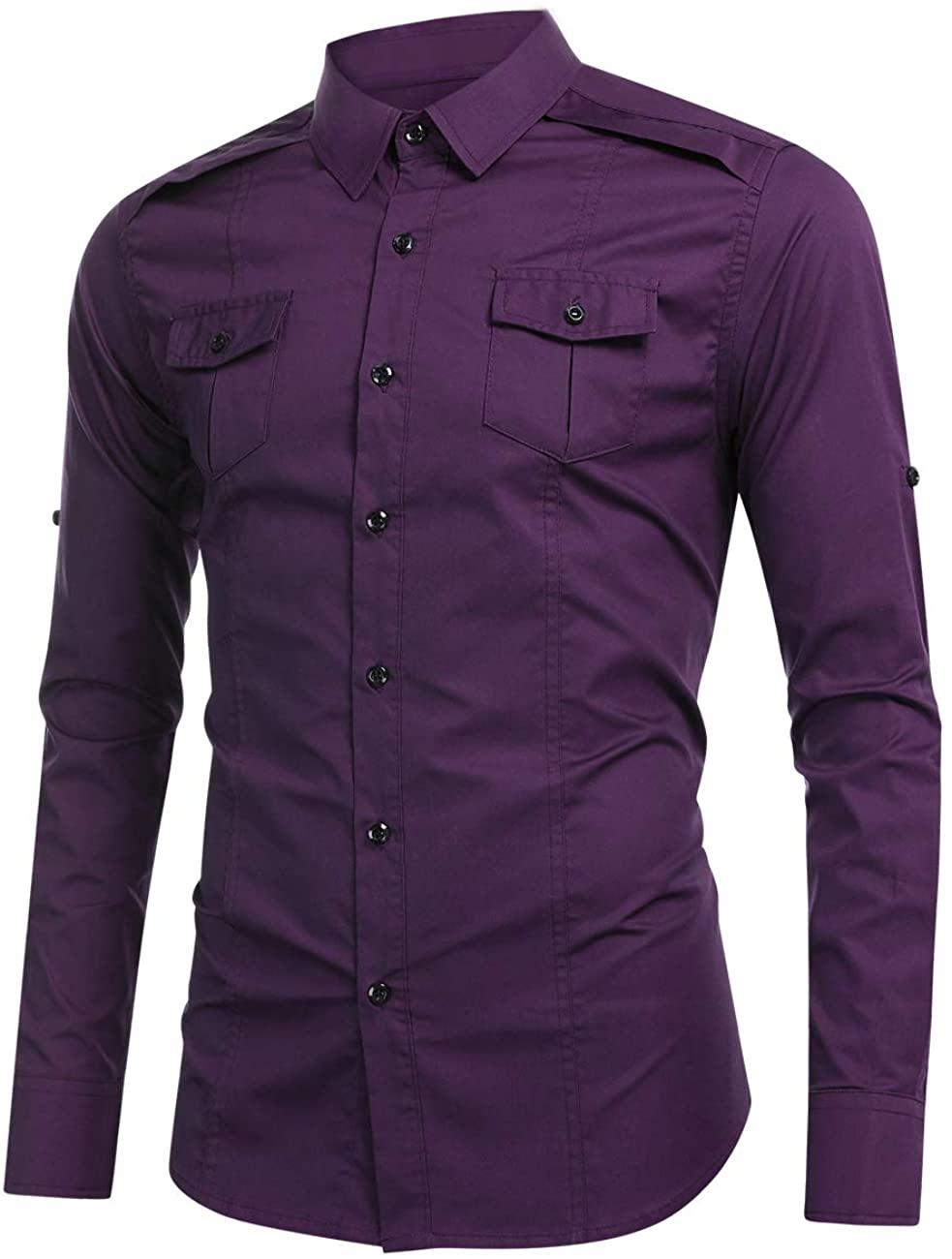 WESTECHO Men's Long-Sleeve Solid Cargo Work Shirt Formal Uniform Tops Convertible Industrial Work Shirts 2 Chest Pockets