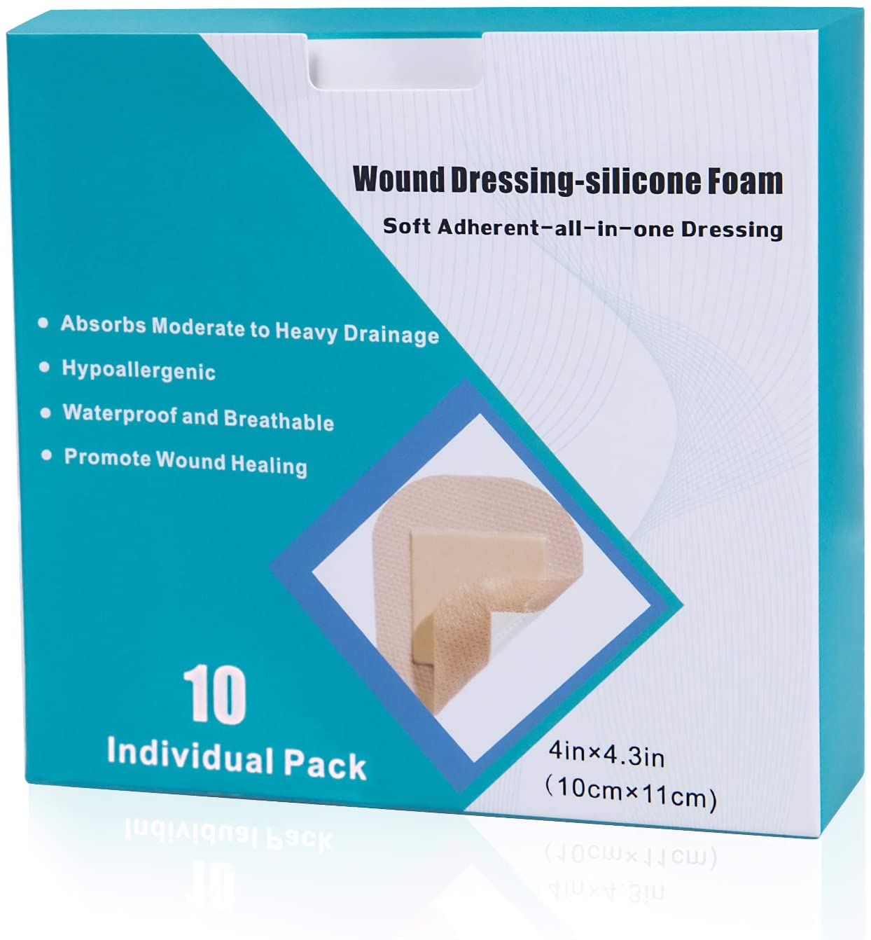 Silicone Foam Dressing 10 Pack with Border Adhesive Hydrophilic Foam Wound Dressing Waterproof Dressing for Wounds Care