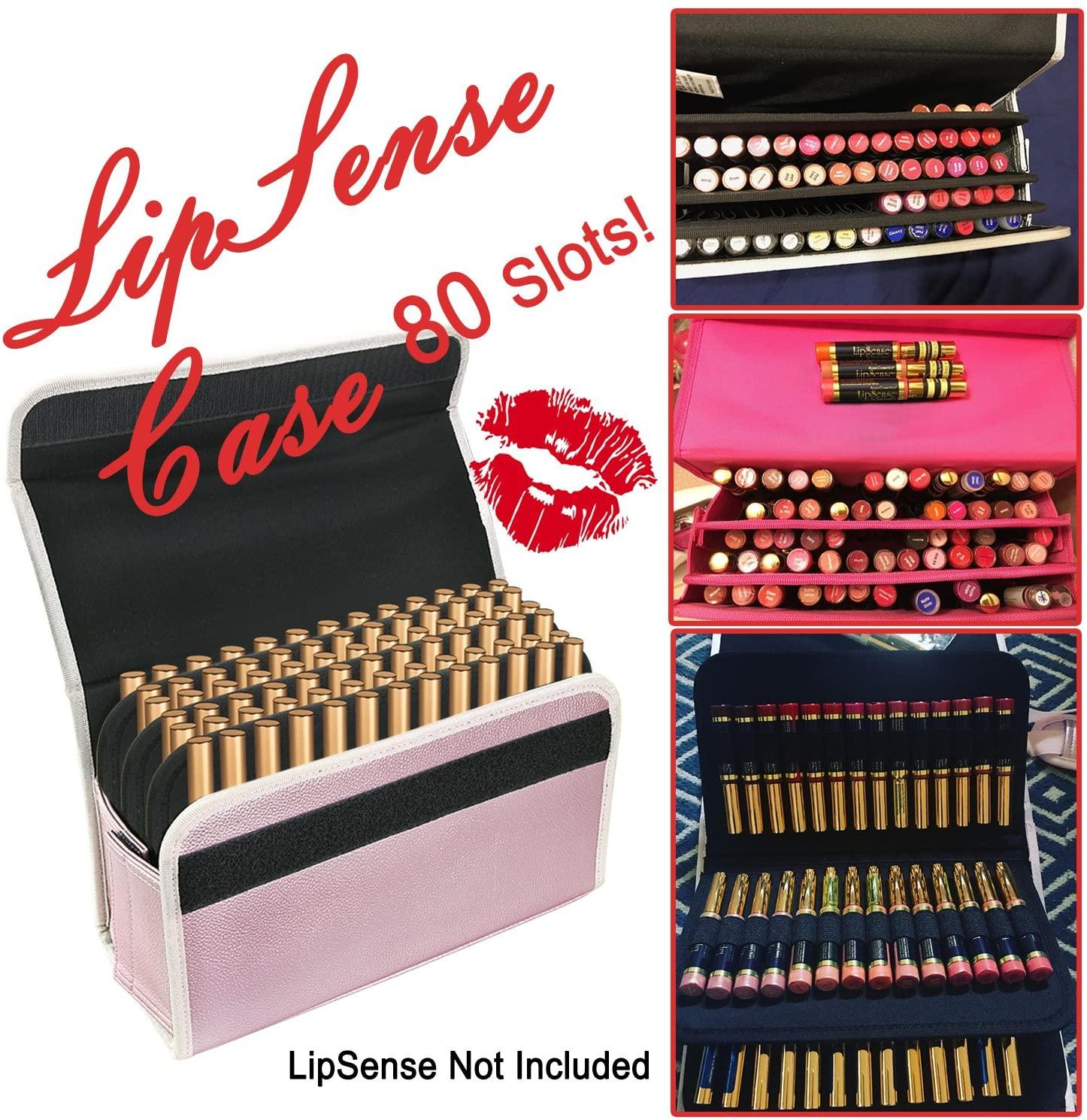 YOUSHARES 80 Slot Lip Gloss Organizer – Large Capacity Lipstick Holder for LipSense, EyeSense & Other Similar Tubes of SeneGence (Pink)