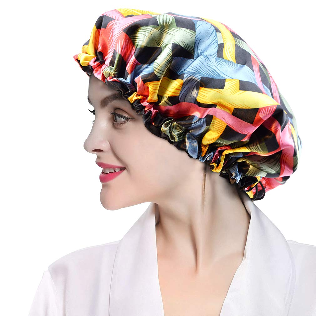 Satin Bonnet Adjustable Sleep Cap Extra Large Silk Night Hats Hair Bonnet Colorful Double Layer Reversible for Women Girls Curly Hair