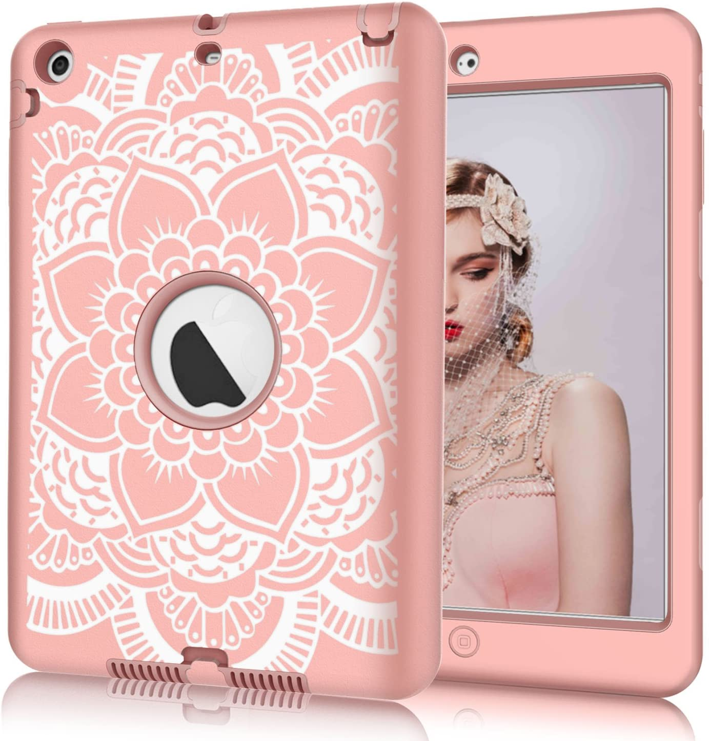 Hocase iPad mini/2/3 Case, Shockproof Hybrid Dual Layer Hard Rubber Protective Case with Cute Flower Design for Apple iPad Mini 1st/2nd/3rd gen 7.9-inch - Rose Gold