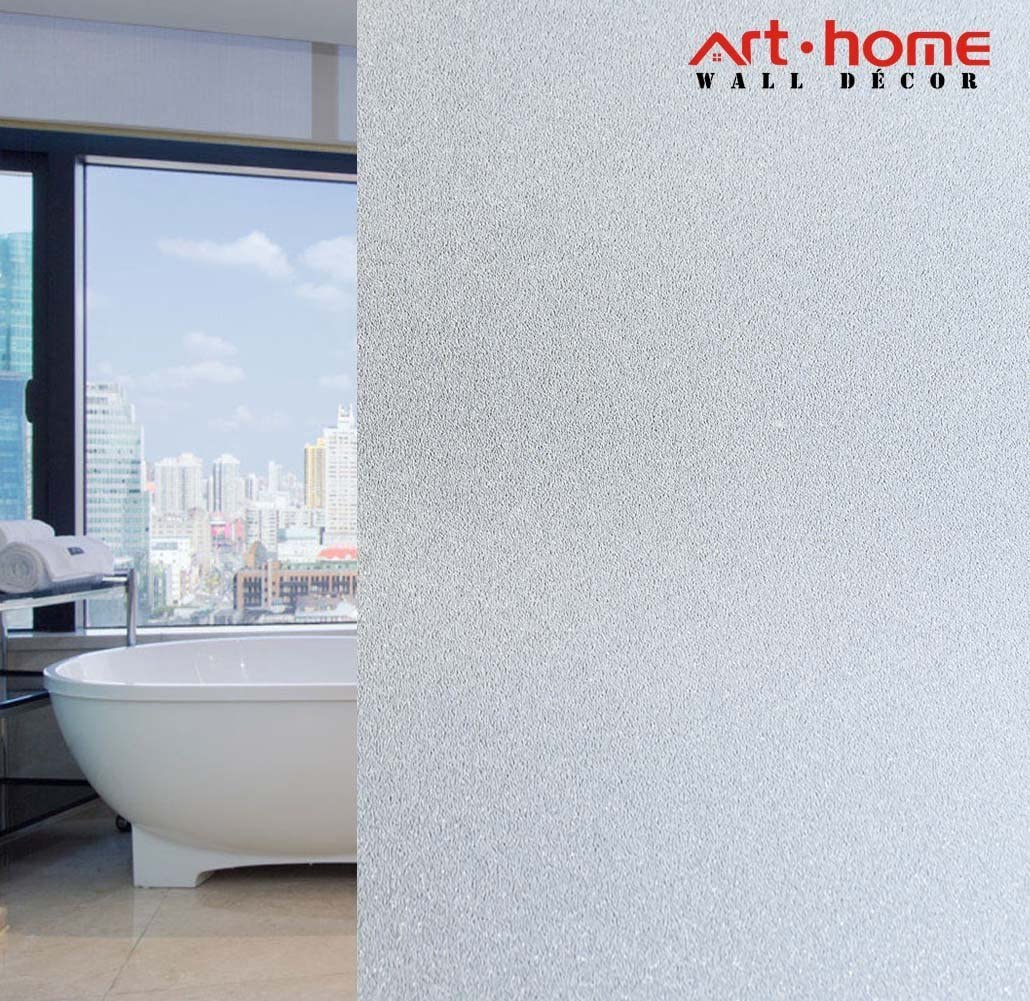 Arthome Frosted Window Film,35.4x100 inch Privacy Film No Glue Static Cling Self-Adhesive Anti UV Decorative Film for Living Room Bathroom Bedroom Home Kitchen Office