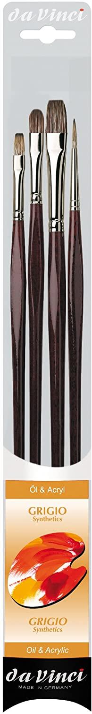da Vinci Oil & Acrylic Series 5103 Grigio Synthetic Paint Brush Set, Multiple Sizes, 4 Brushes (Series 7195, 7495, 7795)