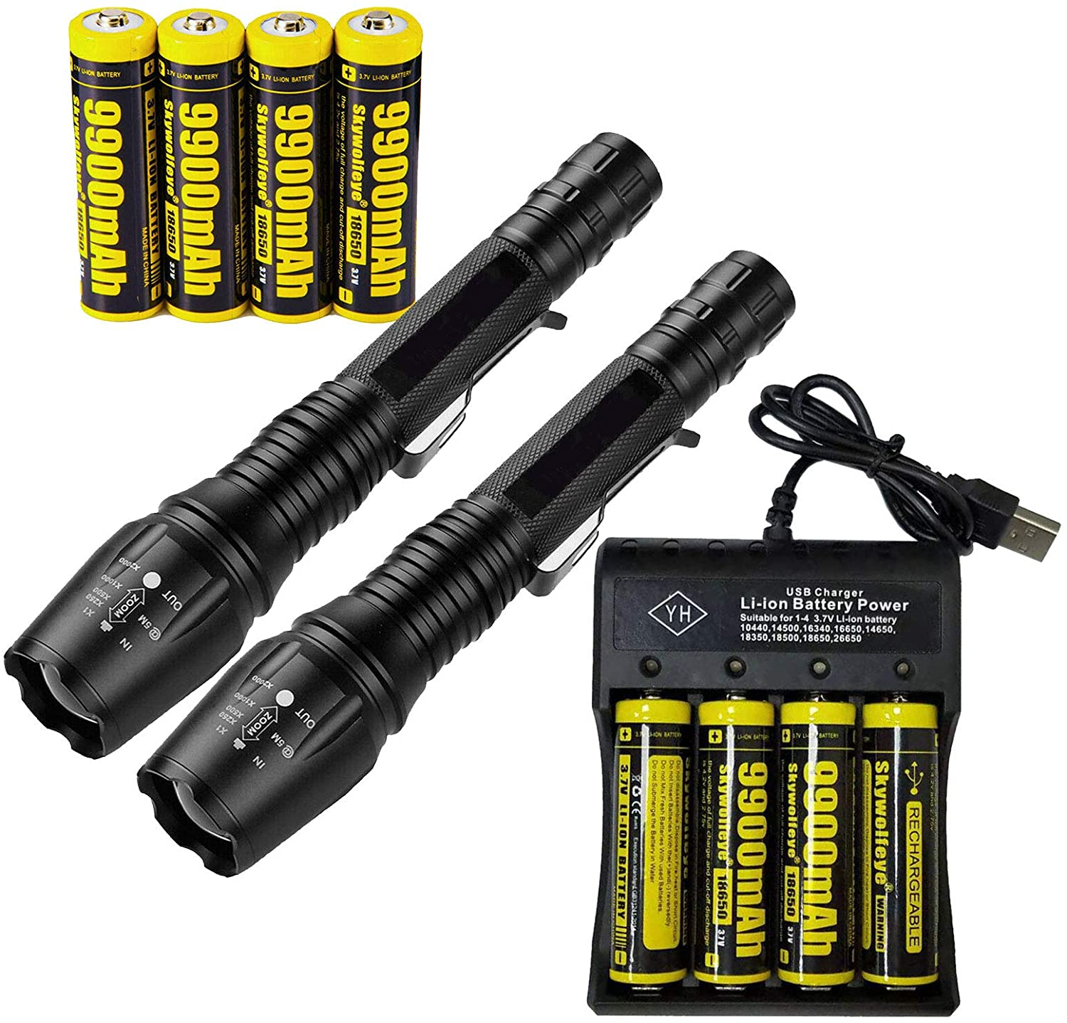 2 Set Tactical 90000LM Zoomable 5 Modes Portable LED 18650 Flashlight 9900mAh Rechargeable Batteries 4 Slots USB Universal Smart Battery Chargers for Camping Hiking Running Outdoor