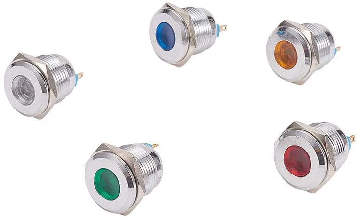Othmro DC 12V 12 mm, Red Yellow Blue White Green Light Copper Chromium Plating LED Indicator Signal Lamp, 20,000hrs Lamp Life