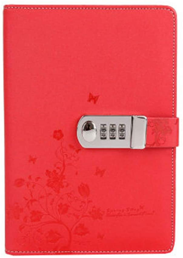 Locking Diary Combination Lock Journal Diary With Lock Digital Password Book A5 Planner Cover (Red)