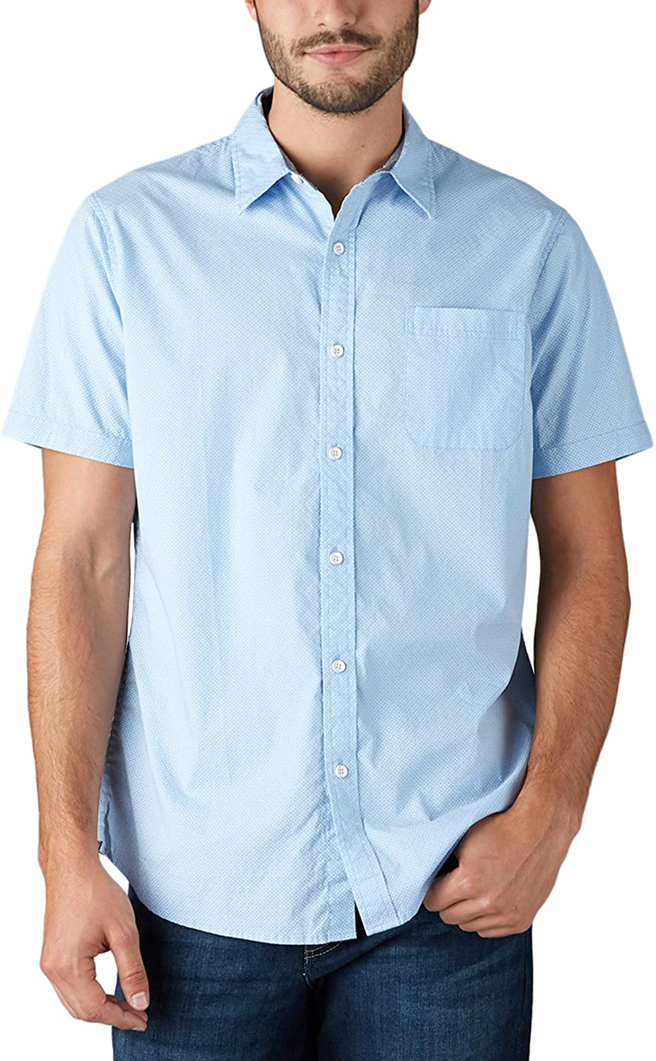 LEE Men's Regular, Big & Tall, Short Sleeve Button Down Printed Stretch Shirt Sky Blue