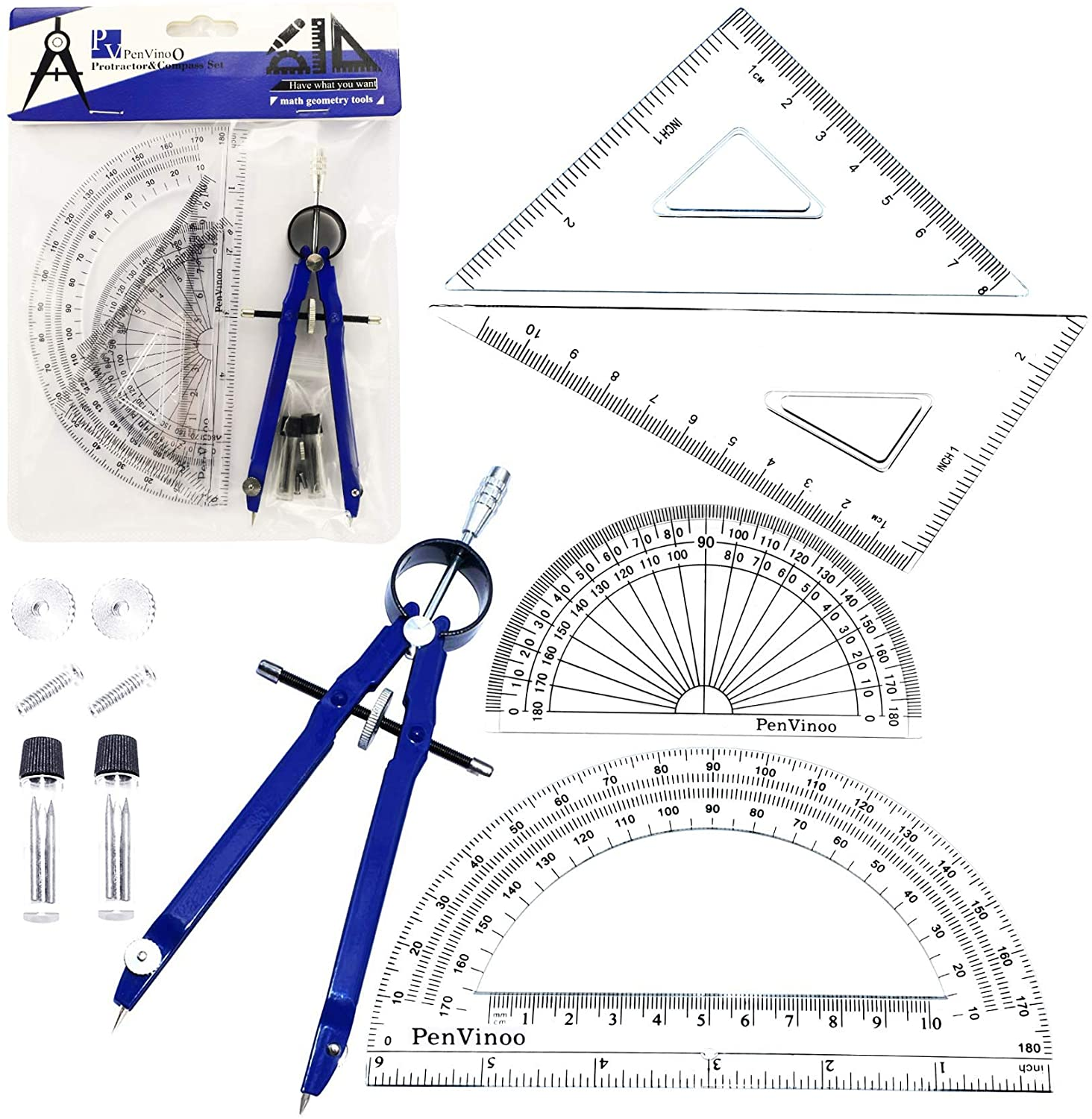 5 Piece Geometry School Set,with Quality Compass, Set Squares, Protractor,Drawing Compass Math Geometry Tools(5 pcs-Compass-Blue)