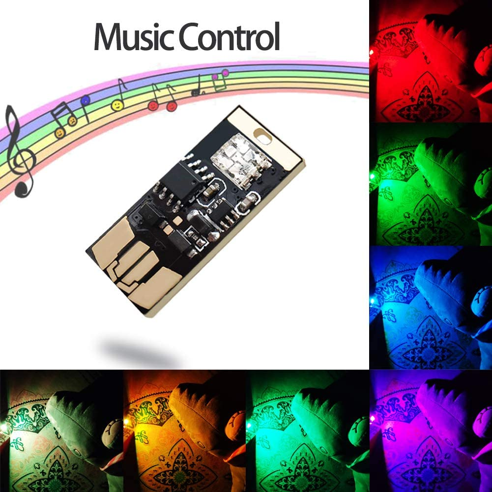 RGB USB Led Night Atmosphere Light, 8 Modes Dimmable LED Car Ambient Atmosphere Light with Music Beats Control Pattern. (1 Pack)