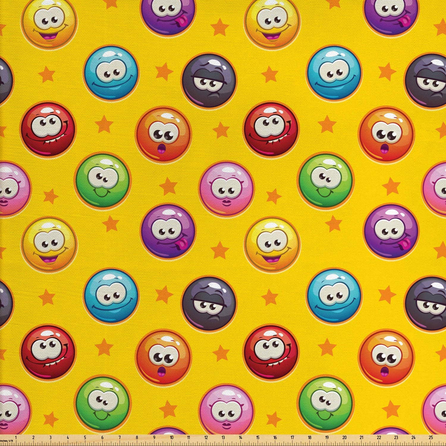 Ambesonne Emoji Fabric by The Yard, Smiley Surprised Grumpy Sad Happy Mood Faces Background with Little Stars Art Print, Decorative Fabric for Upholstery and Home Accents, 1 Yard, Earth Yellow
