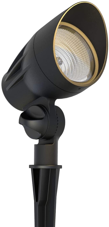 GOODSMANN Landscape Lighting Flood Light Low Voltage Spotlight 50W Halogen with Metal Spike Stake and Connector 380 Lumens Outdoor Weatherproof Spotlight 9920-9601-01